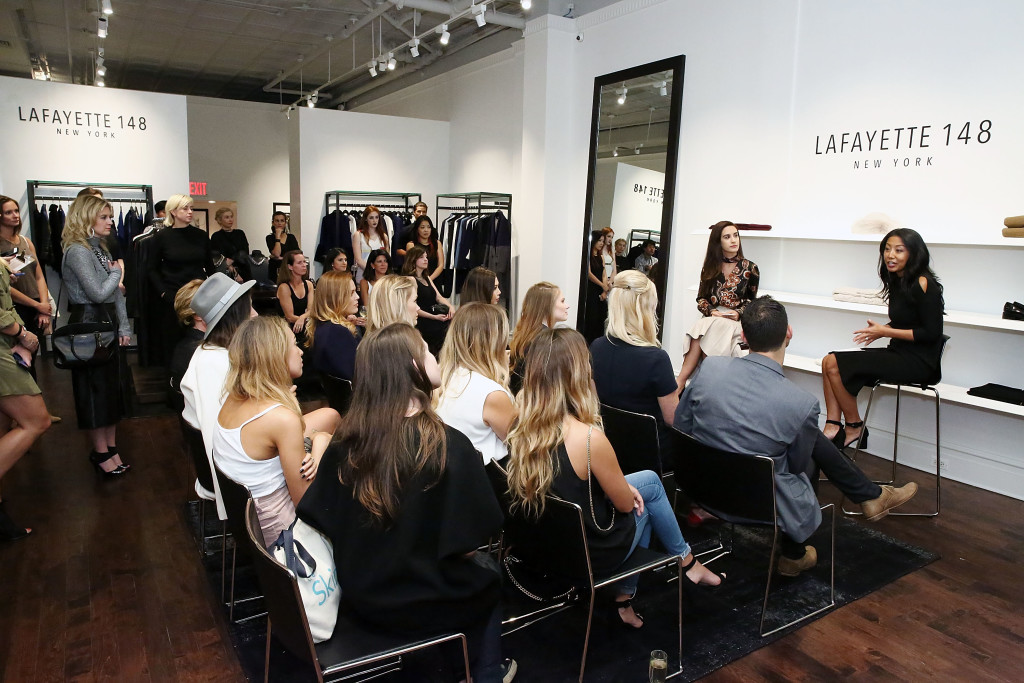 NEW YORK, NY - SEPTEMBER 13: (L-R) Natalie Zfat and Noelle Dubina talk to guests during the Lafayette 148 New York Fashion Week Event at Lafayette 148 on September 13, 2016 in New York City. (Photo by Astrid Stawiarz/Getty Images for Lafayette 148)